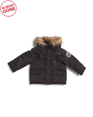 Toddler Boys Faux Fur Hooded Parka