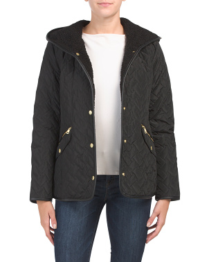 Sherpa Lined Hooded Zip Front Coat