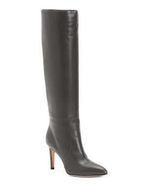 Made In Italy Leather High Heel Boots
