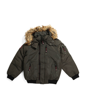 Big Boys Ribbed Parka Coat
