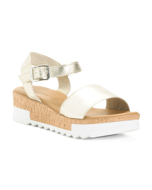 Made In Italy Cork Bottom Leather Sandals