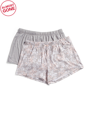2pk Brushed Floral And Solid Shorts