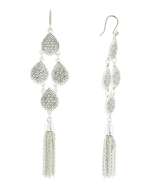 Pave Openwork Fringe Drop Earrings