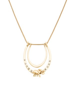 Elephant Charm And Pave Necklace