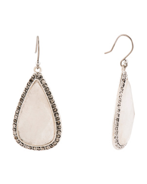Quartz Pave Reverse Drop Earrings