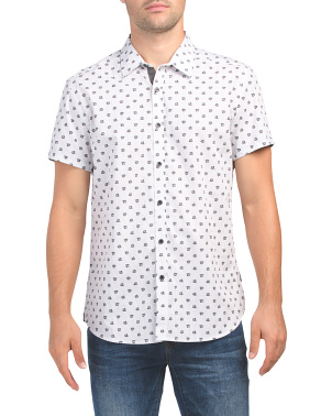 Short Sleeve Hibiscus Print Shirt