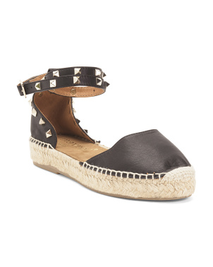Made In Spain Studded Leather Espadrille Flats