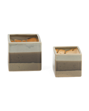 Set Of 2 Square Ceramic Planters