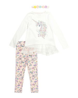 Girls 2pc Lace Trimmed Unicorn Legging Set With Headband