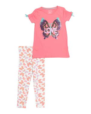Girls 2pc Love Butterfly Leggings Set