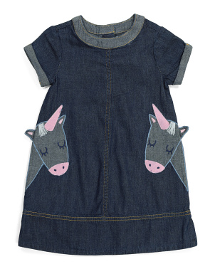 Girls Denim Dress With Unicorn Pockets