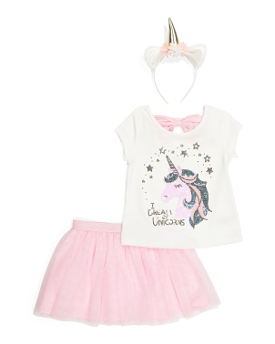 Girls 2pc Dream Of Unicorns Skirt Set With Headband