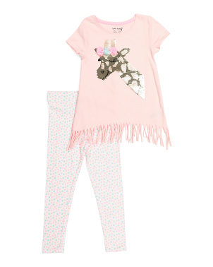 Girls 2pc Giraffe Fringe Legging Set