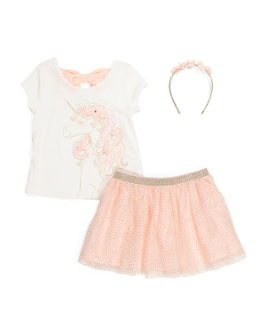 Girls Unicorn Glitter Mesh Skirt Set With Headband