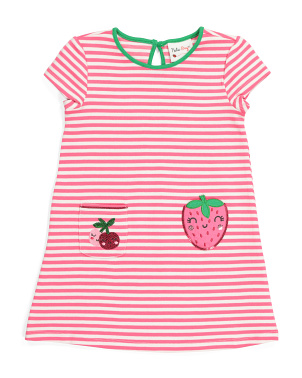 Toddler Girls Strawberry Striped Ponte Dress