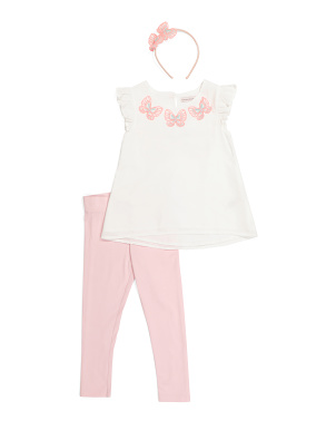 Girls 2pc Butterfly Back Legging Set With Headband