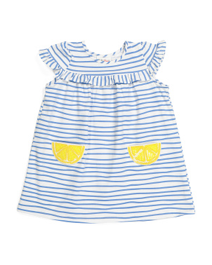 Toddler Girls Lemon Pocket Striped Dress