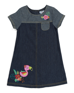 Toddler Girls Flamingo Denim Dress