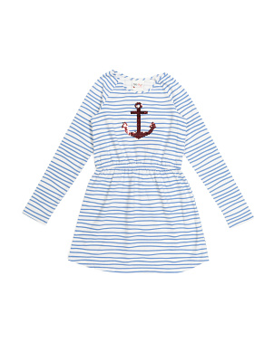 Girls Anchor Striped Dress