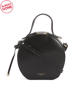 Round Leather Zip Around Crossbody