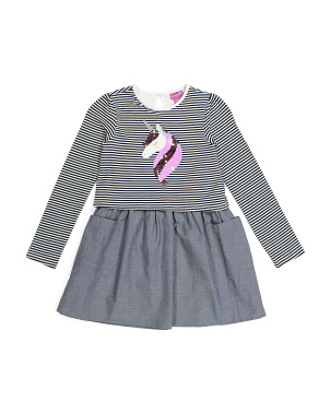 Girls Unicorn Striped Bodice Dress