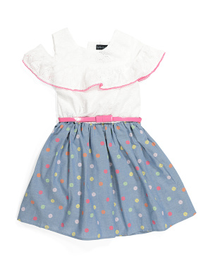 Girls Cold Shoulder Polka Dot Ruffle Dress