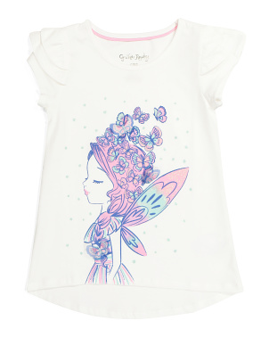 Girls Butterfly Fairy Ruffle Sleeve Top
