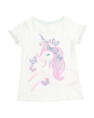 Girls Butterfly Unicorn Mesh Trim Top