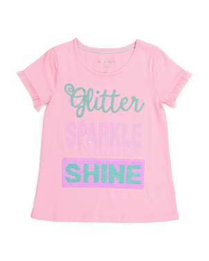 Girls Glitter Sparkle Shine Reversible Sequin Top