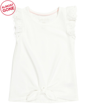 Girls Tie Front Eyelet Sleeve Top