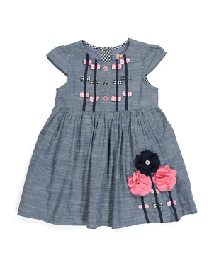 Toddler Girls Flower Applique Denim Dress