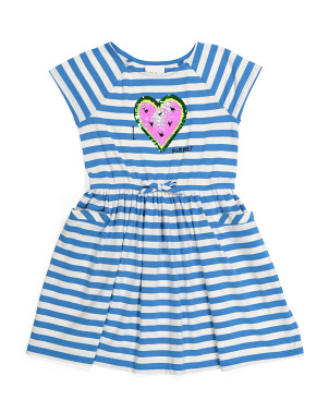 Girls Watermelon Heart Striped Dress
