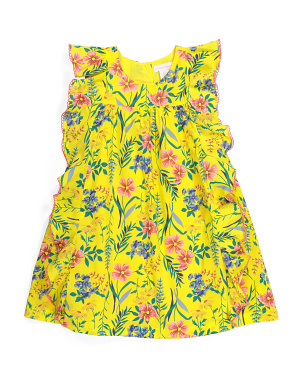 Girls Botanical Floral Flutter Sleeve Dress