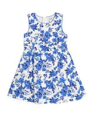 Girls Floral Bow Waist Dress