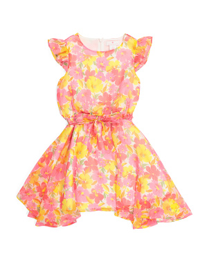 Girls Floral Sharkbite Hem Dress