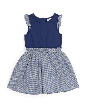 Girls Gingham Flutter Sleeve Bow Dress
