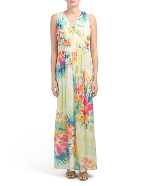 Tropical Floral Printed Maxi Dress