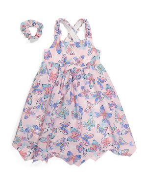 Girls Butterfly Hanky Hem Dress With Scrunchie