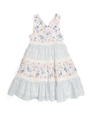 Girls Criss Cross Tiered Floral Dress
