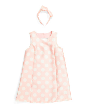 Girls Polka Dot Shift Dress With Headband