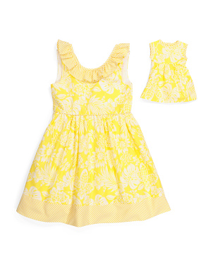 Girls Floral Bow Back Dress With Doll Dress