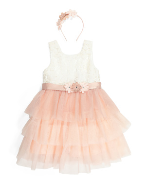 Girls Tiered Mesh Dress With Headband