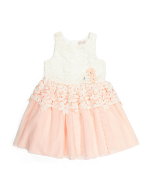 Girls Lace Peplum Dress With Hair Clip