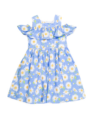 Girls Cold Shoulder Daisy Dress With Hairclip