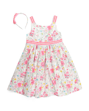 Girls Floral Scoop Neck Dress With Headband