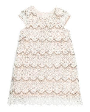 Girls Scalloped Lace Lurex Dress
