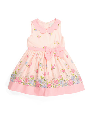 Toddler Girls Bunny Border Scalloped Collar Dress