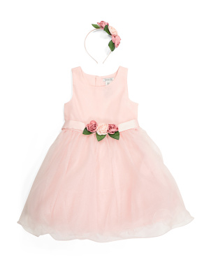 Girls Glitter Floral Waist Dress With Headband