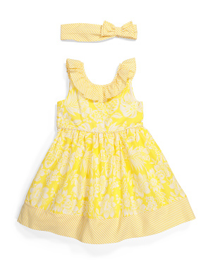 Toddler Girls Ruffle Dress With Headband
