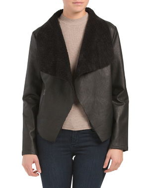 Faux Leather And Sherpa Drape Jacket